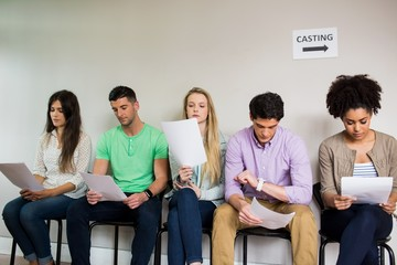 Students at a casting call for a play