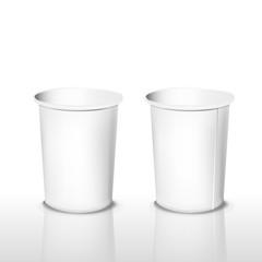 empty white paper cups set