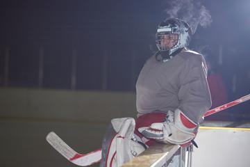 ice hockey players on bench