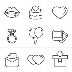 Line Icons Style Wedding Icons Set, Vector Design