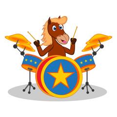 Horse playing drum cartoon