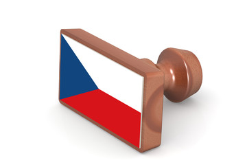 Wooden stamp with Czech Republic flag