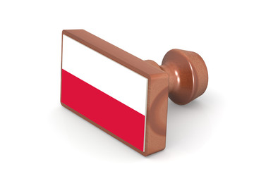 Wooden stamp with Poland flag