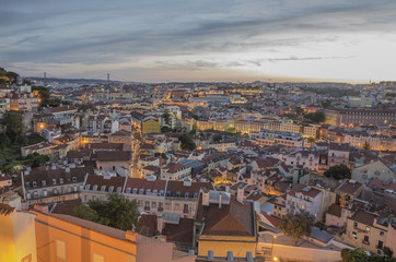 Lisbon view at dusk, Portugal