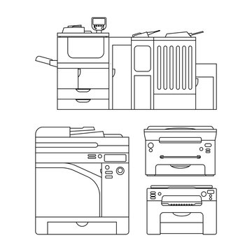 Vector outlines printer illustration for web, press and other design. Set of icons.