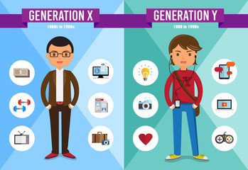 Generations Comparison infographic, Generation X, Generation Y, cartoon character-vector