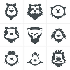 Black vector lion face icon isolated on white