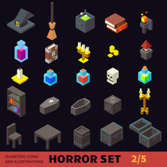 Isometric horror flat vector icon set: hat, potion, broom, coffin, candle, books, chair, table, candlestick. For halloween, horror games and cartoons.