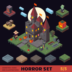 Isometric horror vector flat tiles and objects compilation. Creepy castle, graveyard, pumpkin field, scarecrow.witch, spider, skull, zombie hand. For halloween, horror games and cartoons.