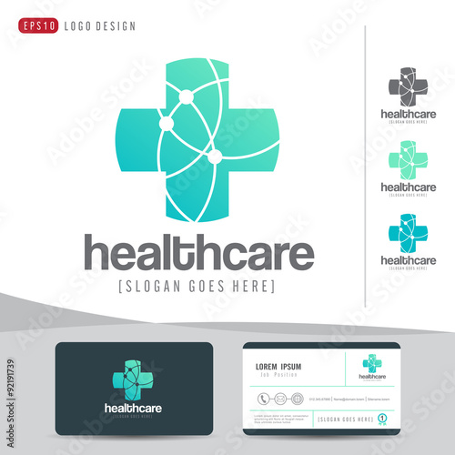 Logo design medical healthcare or hospital and business card logo design medical healthcare or hospital and business card template clean and modern patternvector reheart Gallery