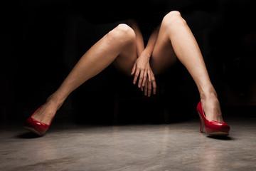 Fototapeta Woman wearing red high heel shoes obraz