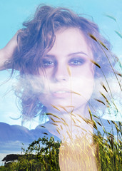 Double exposure of beautiful girl and wheat field