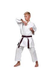 Karate boy in kimono fighting