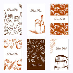 Set of six business cards. Beer company. Restaurant theme. Vector illustration.