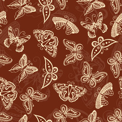 Butterflies silhouettes in hand-drawn style for tattoo design. Vector decorative doodle seamless.