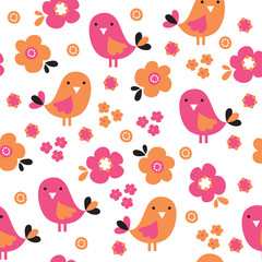 seamless colorful bird with flower pattern vector illustration