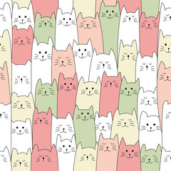 seamless doodle cat pattern vector illustration