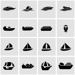 Vector black ship and boat icon set