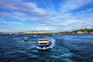 ISTANBUL, TURKEY: Tourist vessels in Bosporus