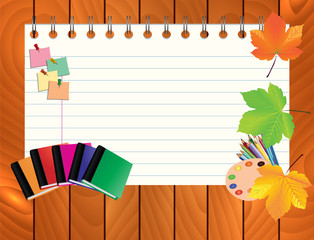 Image of empty note, card, paper, with school supplies, equipment, accessories, items, tools. Cartoon illustration on wooden background.