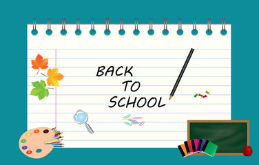 Image of note, card, paper, with sign back to school and school supplies, equipment, accessories, items, tools. Cartoon illustration on blue background.