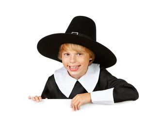 Thanksgiving: Cheerful Pilgrim Behind White Card