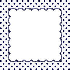 Navy Blue and White Polka Dot Frame Background