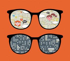 Retro eyeglasses with cityscape reflection.