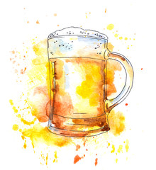 Beer mug. Watercolor original style