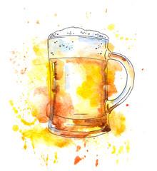 Beer mug. Watercolor original style