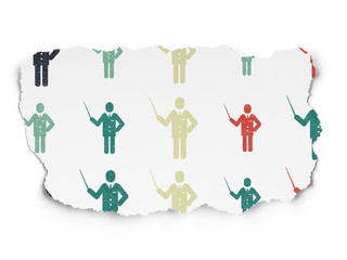 Education concept: Teacher icons on Torn Paper background