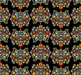 Big robots seamless pattern in black.