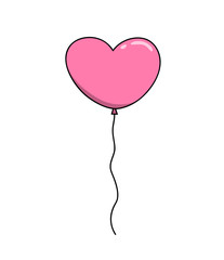 Heart Balloon, a hand drawn vector illustration of a pink heart-shaped balloon, perfect for projects like weddings, Valentine's day, postcard, decoration elements, etc.