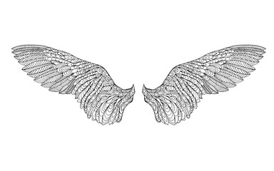Zentangle stylized feather. Sketch for tattoo or t-shirt.