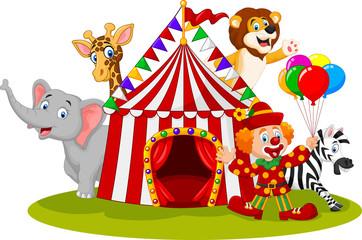 Cartoon happy animal circus and clown