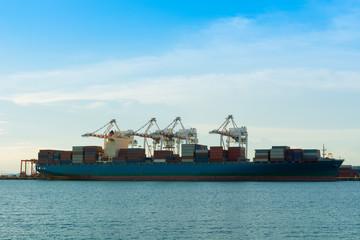 Unloading container of cargo ship terminal.