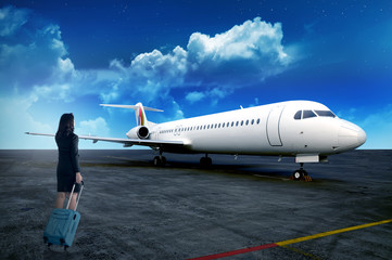 Business Person Carry Suitcase To The Plane