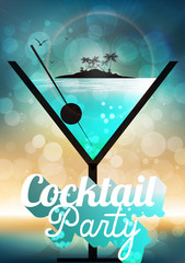 Cocktail Party Invitation Poster - Vector Illustration