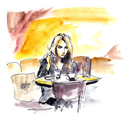 Young woman in cafe sitting at table with coffee cup, sketch
