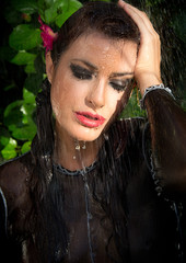 Beautiful Fashion Model Woman in Summer Rain