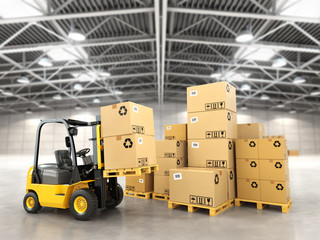 Wall Mural - Forklift truck in warehouse or storage loading cardboard boxes.