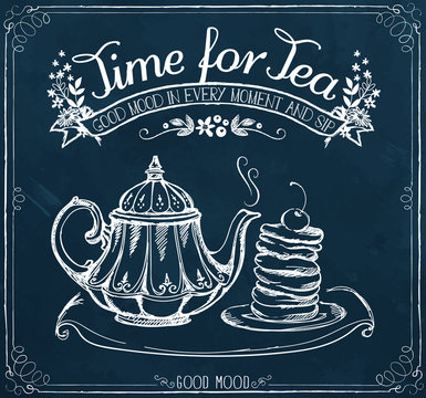 Retro illustration Time for tea with teapot and pancakes