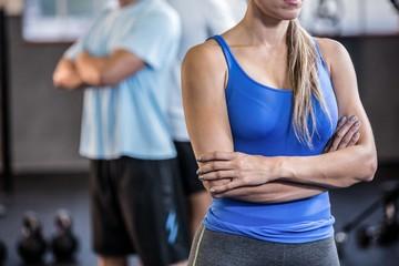Fit woman in fitness studio