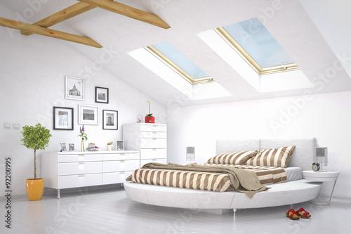 schlafzimmer im dachgeschoss photo libre de droits sur la banque d 39 images image. Black Bedroom Furniture Sets. Home Design Ideas