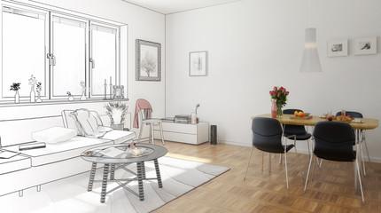 Wohn- und Esszimmer (Entwurf)