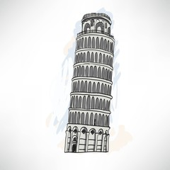 Hand sketch leaning tower of Pisa