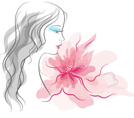 Girl  silhouette with fantastic flower