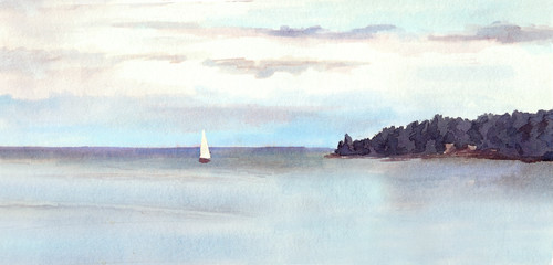 Watercolor landscape - island, sky with clouds and white sail.