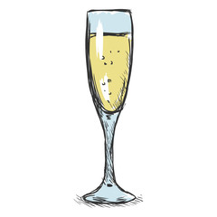 Vector Color Sketch Glass of Champagne