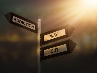 Addiction way out problem sign. Prevention and cure addiction problem concept.